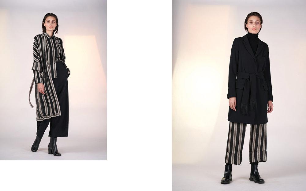 LEFT: kimono MAURO 27115-48 | blouse MAUDE 27115-48 | pants ALAM 27100-08  RIGHT: jacket ALMA 27100-08 | jumper CITY 27501-08 | pants MASHA 27115-48