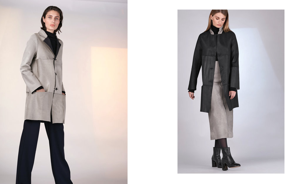 LEFT: reversible jacket LEVAS 27903-40 | jumper CITY 27501-08 | pants ALI 27100-08  RIGHT: reversible jacket LEVAS 27903-40 | jumper CITY 27501-78 08 | skirt LESTA 27903-40