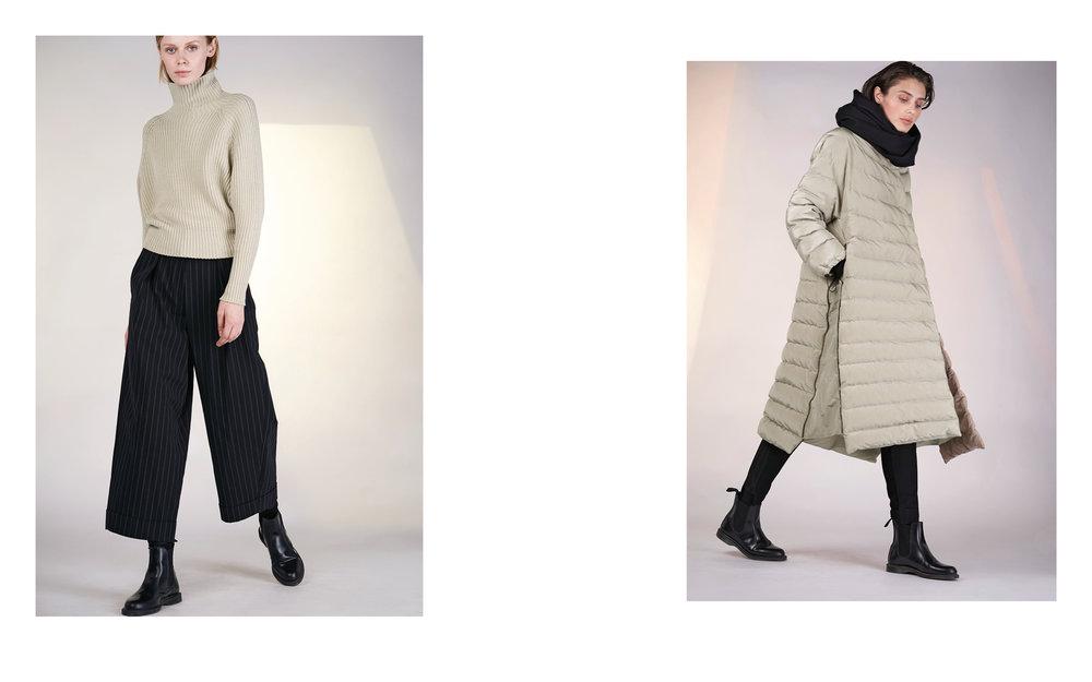 LEFT: jumper SIMON 27503-40 | pants UTZ 27133-48  RIGHT: coat GOFI 27121-40 | pants PI 27118-08 | scarf POKER 27401-08