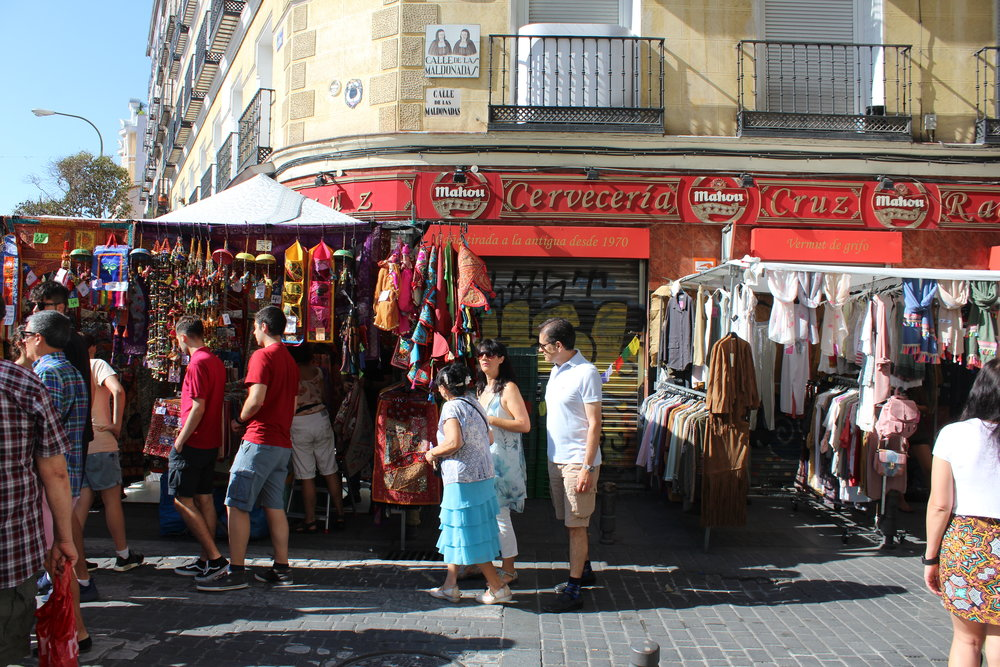 El Rastro Market held every Sunday in Madrid