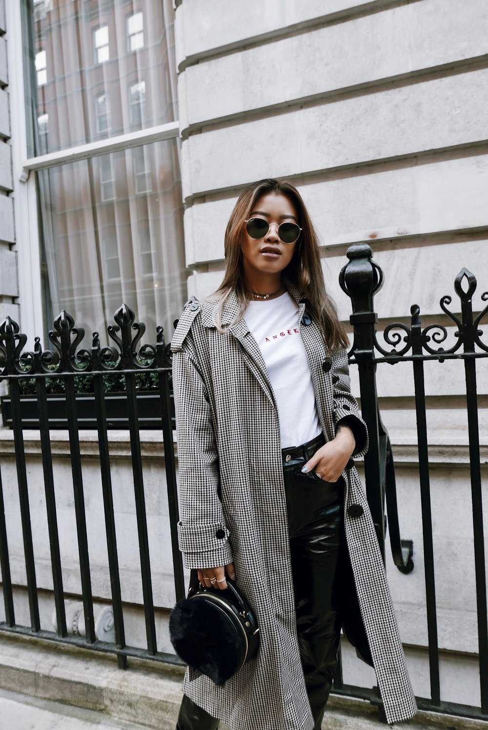 THE OUTFIT TO MATCH THE ATTITUDE - MANGO COAT | BRANDY MELVILLE T SHIRT | ACCESSORIZE BAG | ACCESSORIZE CHOKER | RAY BAN SUNGLASSES | LPA LEATHER TROUSERS | PUMA X KOOPLES TRAINERS