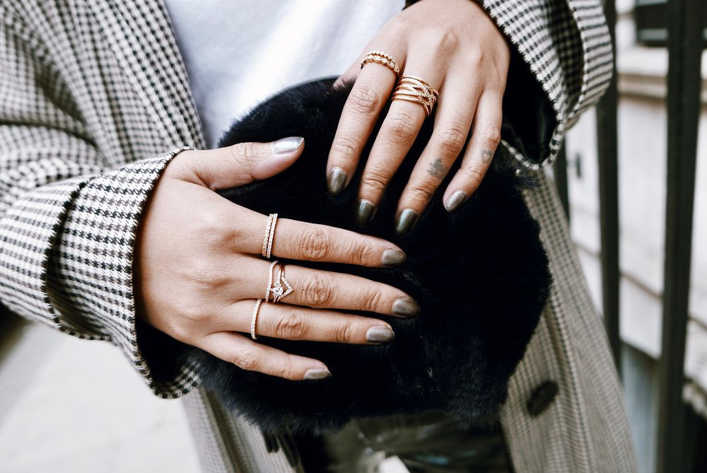 How cute are these rings? They go perfectly with this navy little faux fur number & are a great everyday wear. -