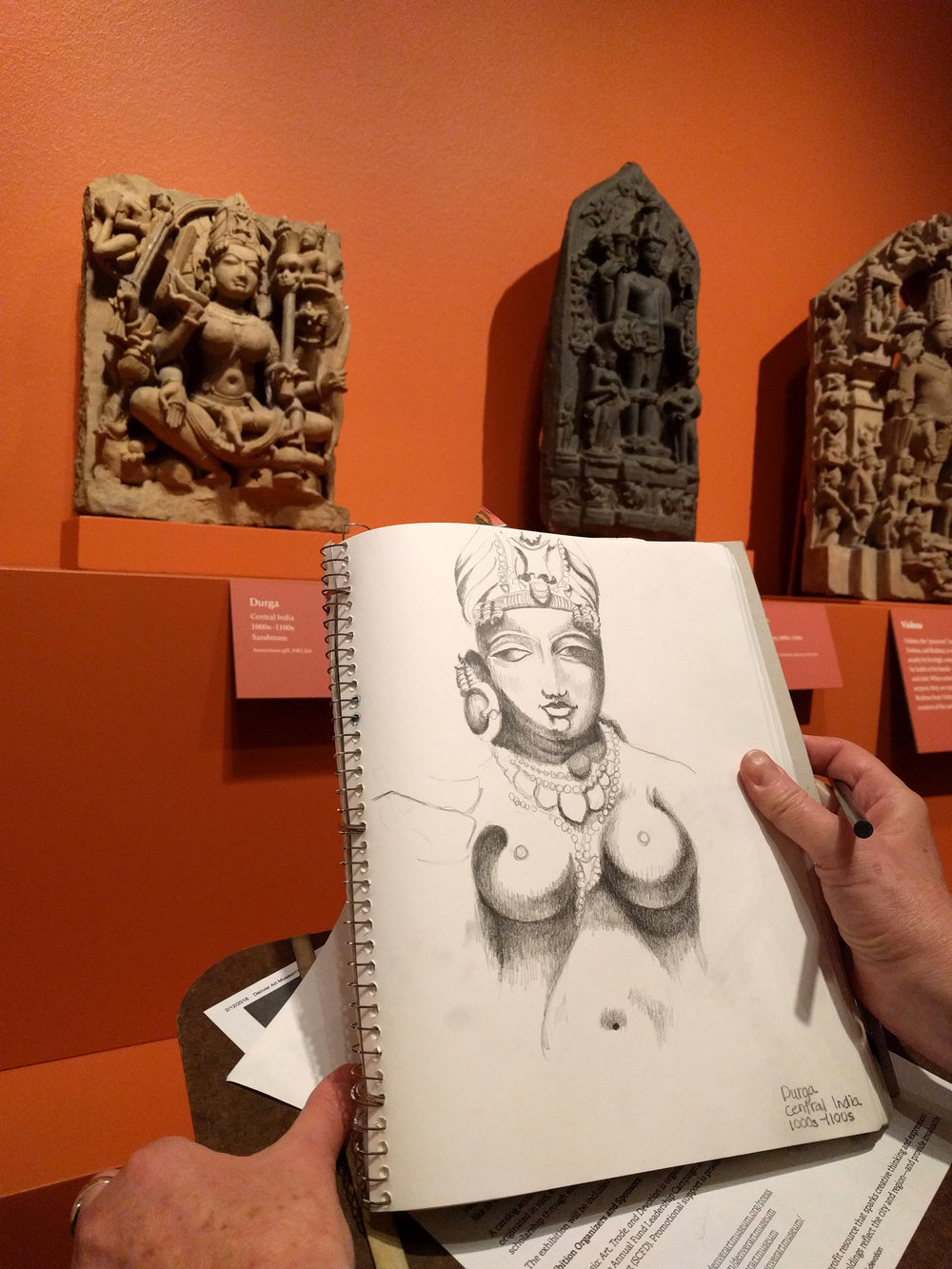 Anonymous, drawing the goddess Durga from Central India, 1000s - 1100s