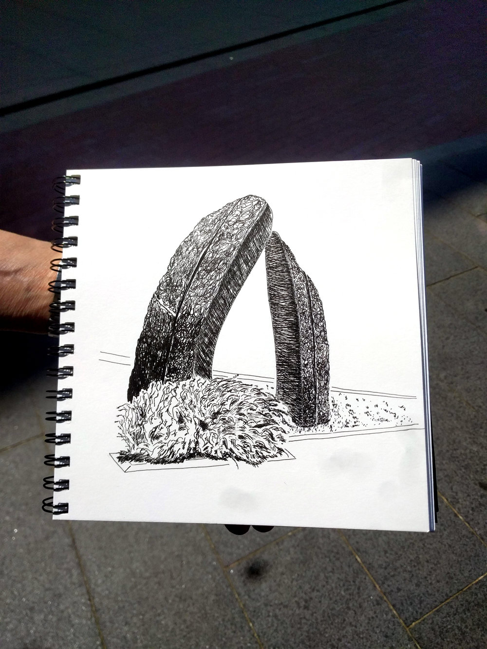 "Cherie Fisk, ink on paper, inspired by Beverly Pepper's ""Denver Monoliths"""