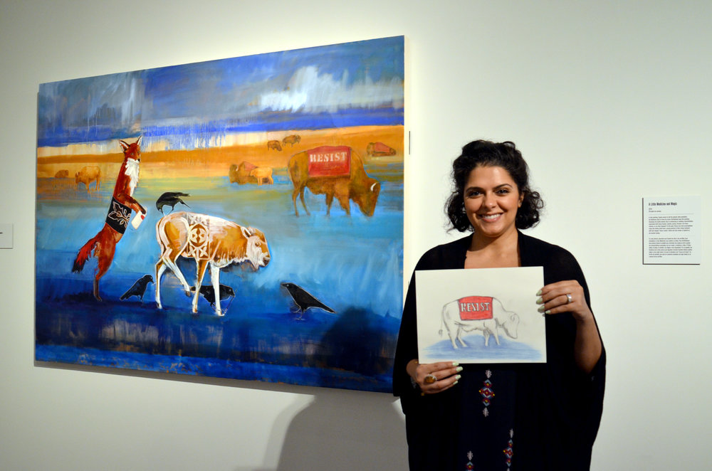 "Mona Ghosheh created a drawing of Julie Buffalohead's ""White Buffalo Reborn"""