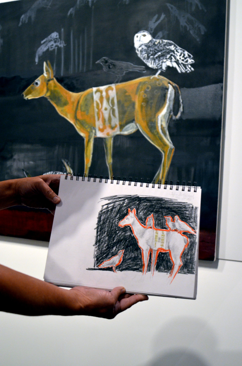 "Janet Woelfle's drawing of Julie Buffalohead's ""Striaght Legs"" painting"
