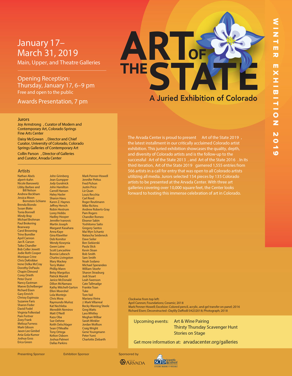 Art of the State @ Arvada Center for the Arts and Humanities - I'm honored to be a part of this upcoming exhibit featuring outstanding creative works from Colorado artists. This call for entry garnered 566 entries with 1,555 individual works. Jurors, Joy Armstrong, Curator of Modern and Contemporary Art @ Colorado Springs Fine Arts Center, Daisy McGowan , Director and Chief Curator @ University of Colorado Colorado Springs Galleries of Contemporary Art, and Collin Parson , Gallery Director and Curator, Arvada Center worked diligently to select 154 works by 135 artists. Please join us for Art of the State's Opening Reception on Thursday, January 17, 6-9 p.m.