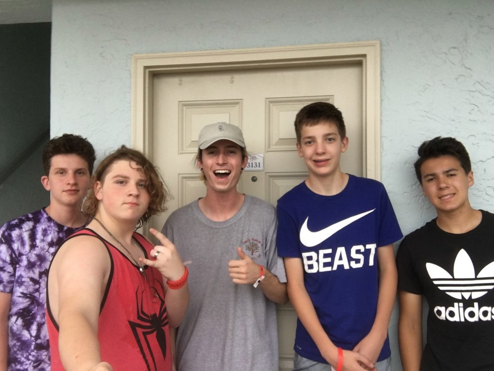 Pictured (left to right): James, Reese, Me, Dalton, Reese (happy campers)
