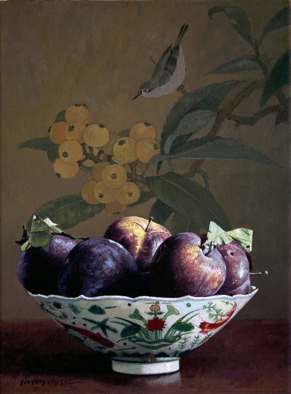 One bowl of black plums
