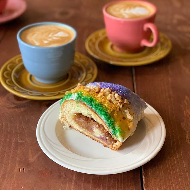 A little king cake and coffee! #kingcake #neworleans