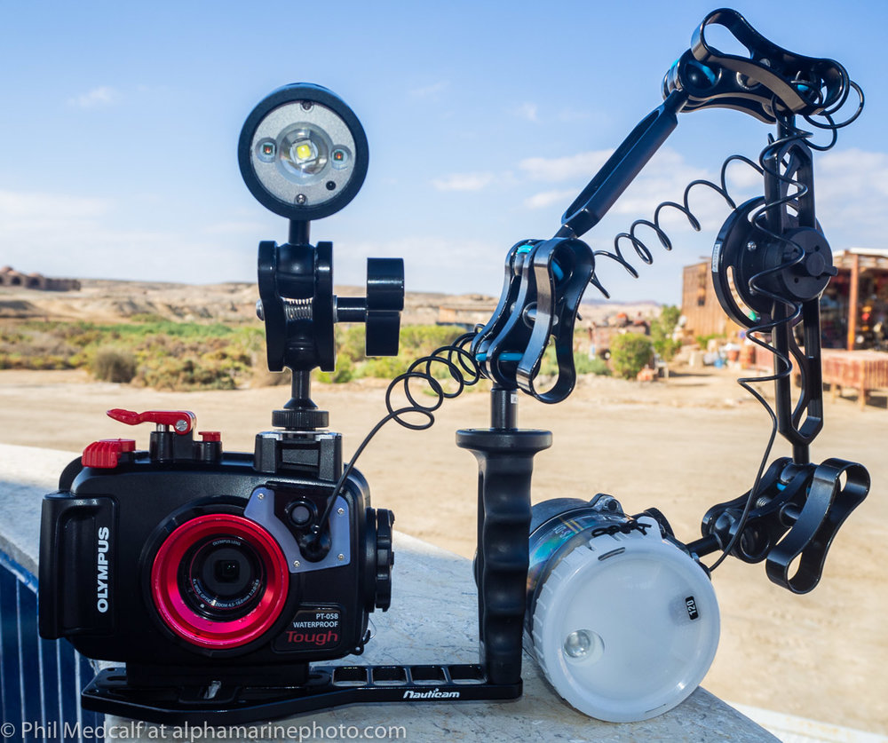Housing, strobe setup and focusing light ready for a dusk dive.