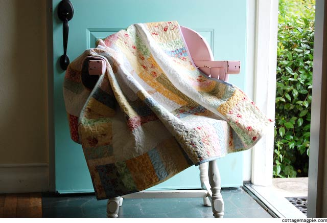 Quilt on Chair via cottagemagpie.com