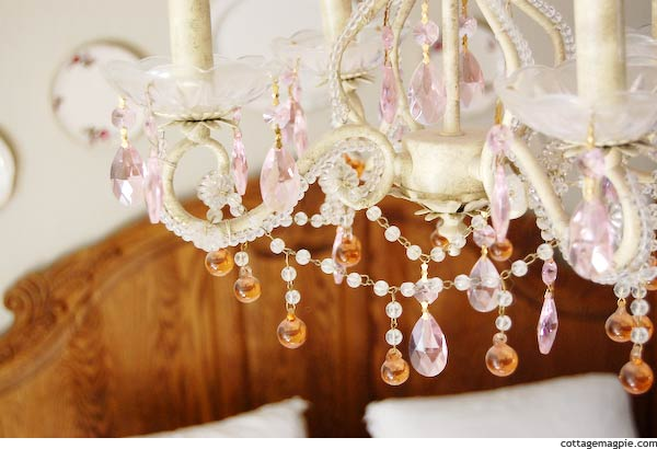 White Chandelier with Pink and Amber Crystals
