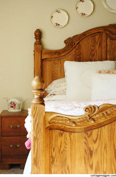 Carved Oak Bed in Master Bedroom