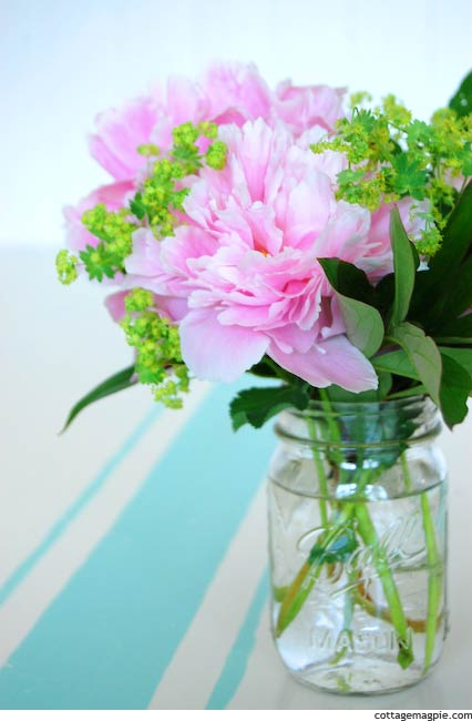 A Peony Bouquet from the Garden via cottagemagpie.com