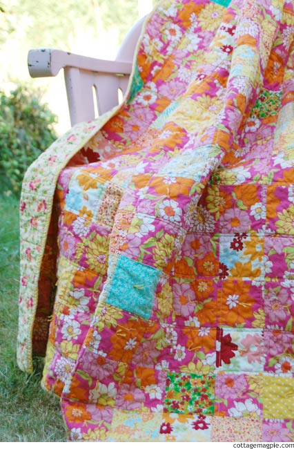 A Year is Closing: the Happy Quilt is Done via cottagemagpie.com