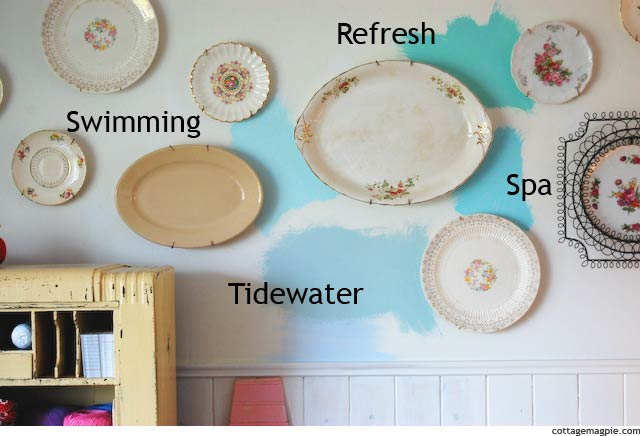 Paint Samples and Plate Wall via Cottage Magpie
