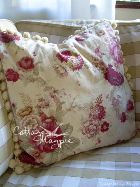 Floral cotton pillow