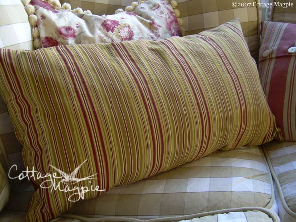 Red Floral Stripe Pillow