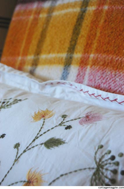 Closeup of Vintage Blanket and Embroidered Throw Pillow