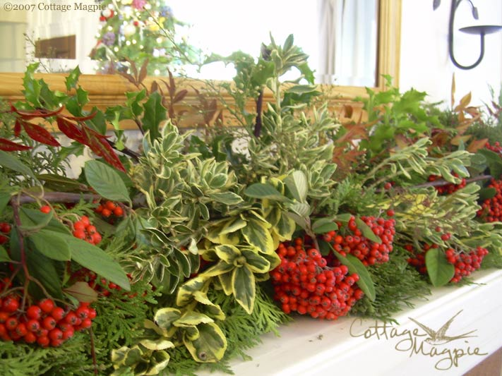 Evergreen Mantel Dressing