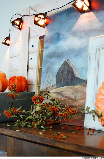 Vintage Distressed Fall and Halloween Mantel