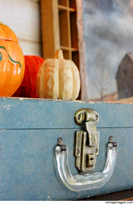 Vintage Blue Case Closeup on Fall and Halloween Mantel