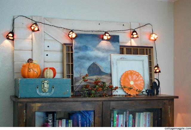 Full View Fall and Halloween Mantel