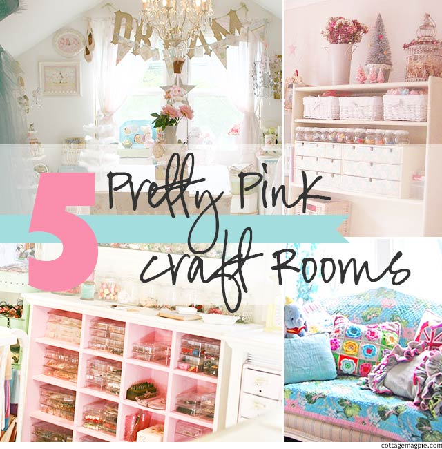 5 Pretty Pink Craft Rooms via cottagemagpie.com