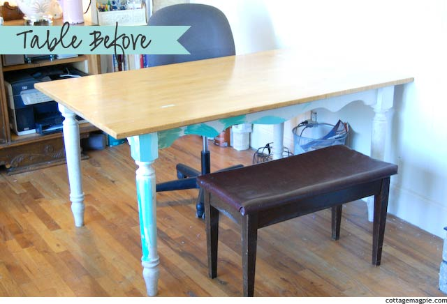 Grain Sack Workshop Table (Before & After) via cottagemagpie.com