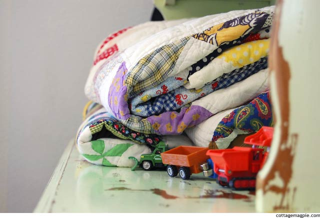 Vintage Quilts and Toy Cars