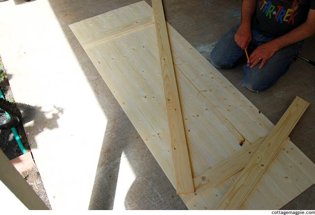 Laying out the Angled Cross-Brace on the Faux Vintage Door