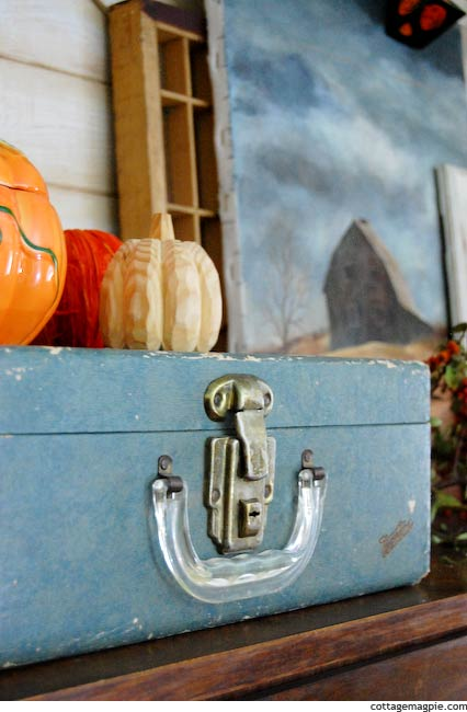 Ceramic Pumpkin on Fall and Halloween Mantel