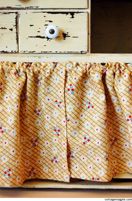 How to Hang Small Cabinet Curtains for Cheap via Cottage Magpie