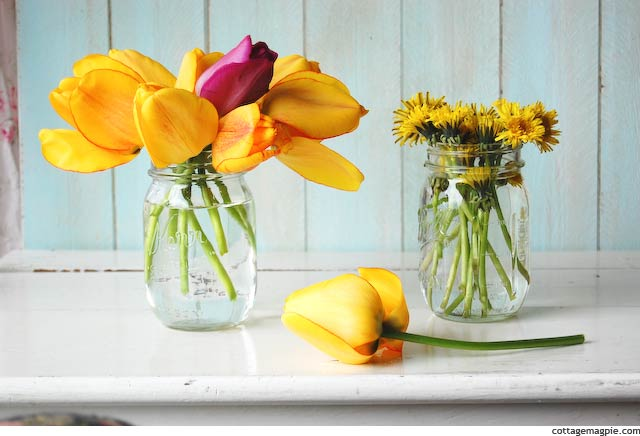 Tulips and Dandelions via Cottage Magpie