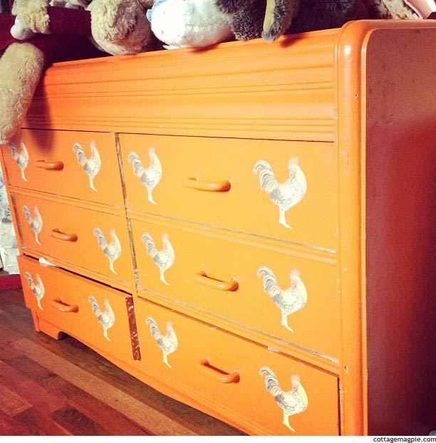 The Orange Chicken Dresser via Cottage Magpie