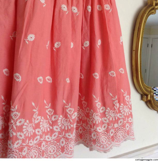 Coral Eyelet Dress via Cottage Magpie