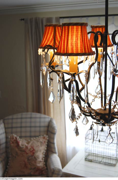 Living Room Chandelier and Curtains