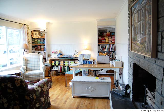 Craft Room Office in Living Room via Cottage Magpie