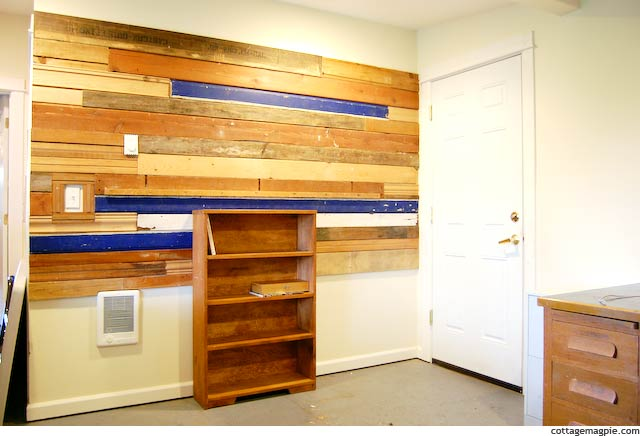 Salvaged Wood Wall in Progress via Cottage Magpie