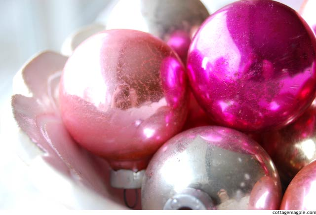 Pink Shiny Brite Ornaments