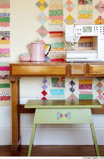 Sewing Table and Design Wall via cottagemagpie.com