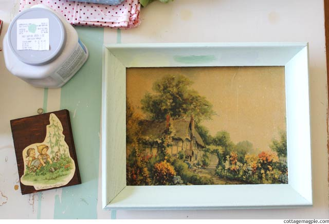 Painted Frame Picking Colors via cottagemagpie.com