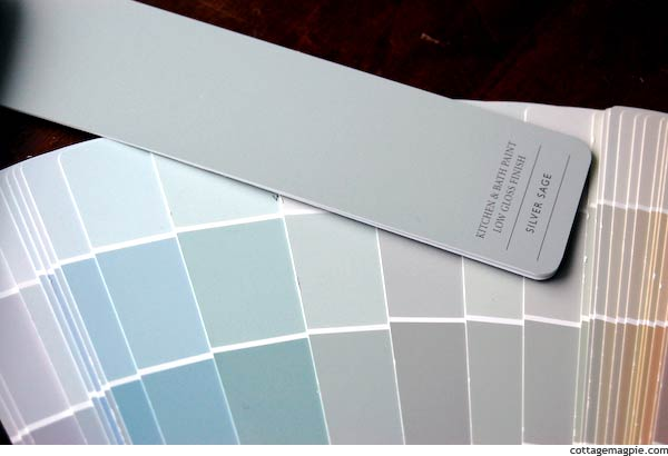 Restoration Hardware Silver Sage Paint Chip with Sherwin Williams Paint Chip Fan Deck