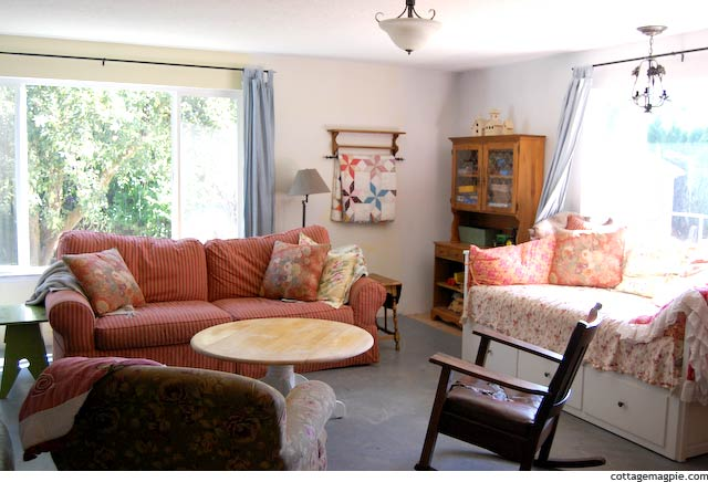 Couch and Daybed in Cottage Family Room
