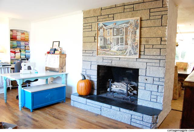 Fireplace in Craft and Office Space via cottagemagpie.com