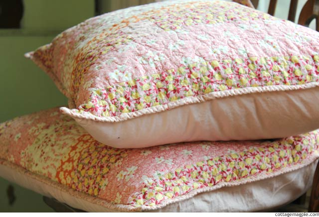 Pink Quilted Pillow Covers via cottagemagpie.com