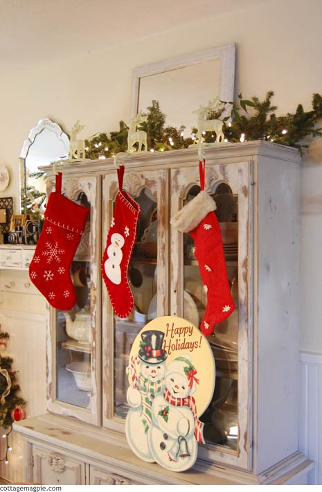 Christmas Stockings on China Hutch