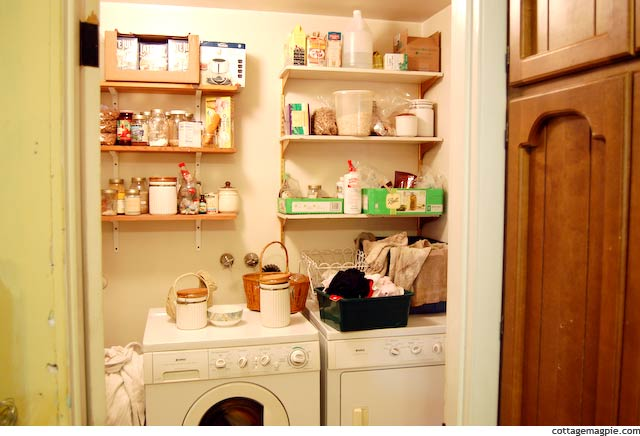 Pantry Shelves Above Washer and Dryer