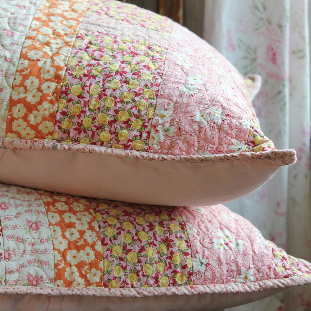 Pink Quilted Pillow Covers via www.cottagemagpie.com